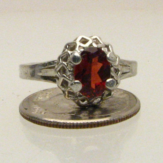 Handmade Exquisite Sterling Silver Garnet Ring