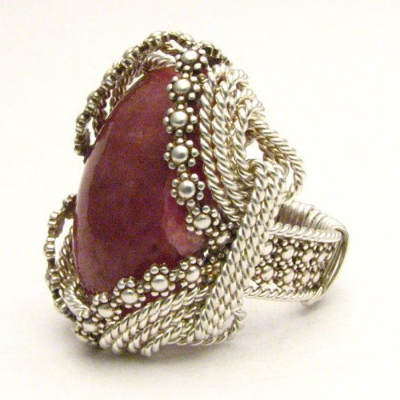 Handmade Sterling Silver Berry Wire Wrap Red Sodalite Cabochon Ring