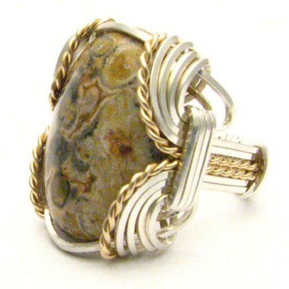 Handmade Wire Wrap Sterling Silver/14kt Gold Filled Leopard Skin Cabochon Ring