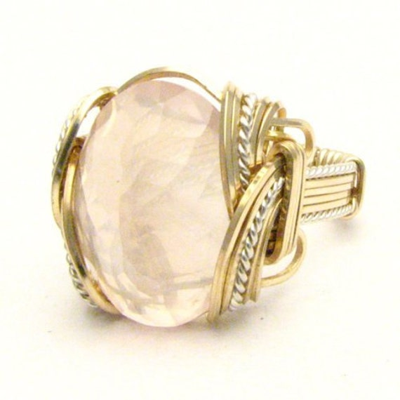 Handmade Wire Wrap Two Tone Sterling Silver/14kt Gold Filled Rose Quartz Ring