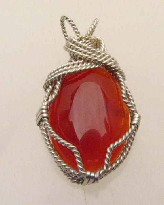 Handmade Solid Sterling Silver Wire Wrap Carnelian Pendant