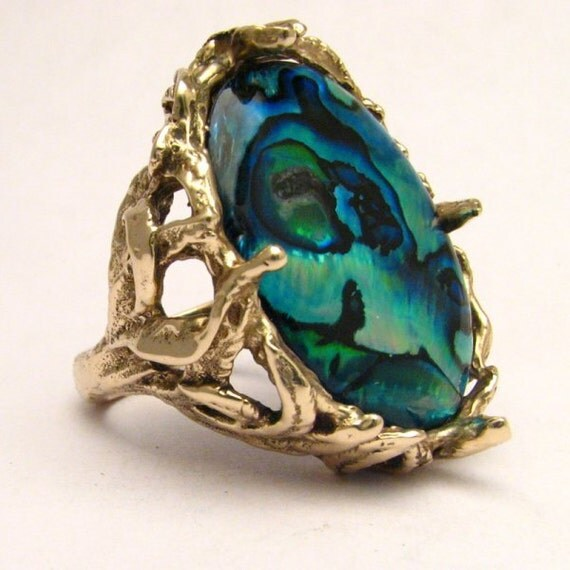 Handmade 14kt Gold Green Paua Shell Massive Claw Ring