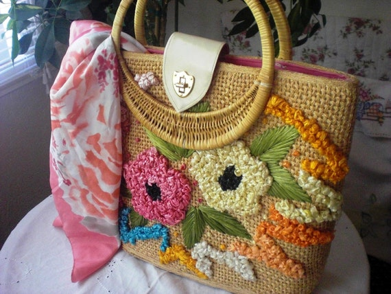 Large Vintage Straw Tote Bag with FREE Scarf