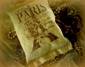 5 for 20.00 French Lavender Sachets - I love  PARIS in The Springtime - Eiffel Tower Hand Stamped Sachet  -0014
