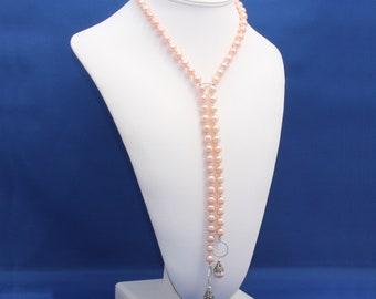 Peach Pearl Lariat Necklace Strand Unique Statement Feminine June Birthstone 3rd and 30th Anniversary