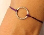 Good Karma Friendship Bracelet Hammered Sterling Silver Macrame Knot Under 25