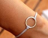 Friendship Bracelet Infinity Circle Bracelet Grey Hammered Karma Bracelet  Macrame Knot