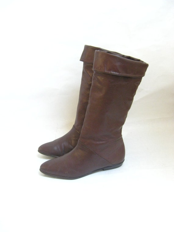Vintage 80s Brown Leather Tall Cuff Riding Boots. Size  7