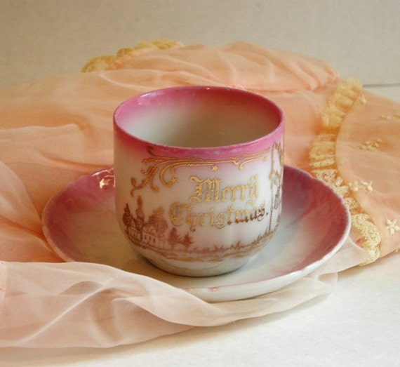 Vintage Child's Cup and Saucer Christmas Themed