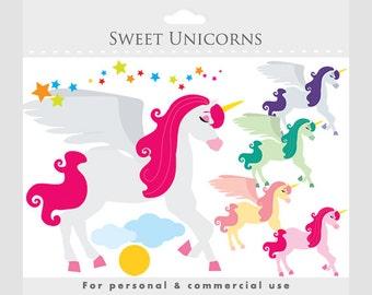 Unicorns clipart - unicorn clip art, fantasy, fairytale, fairy tale, unicorn horses, clouds, stars, personal and commercial use graphics