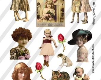 Digital Collage Sheet  Vintage Images  (Sheet no. O132) Ephemera-Instant Download