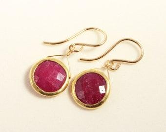 Red Ruby Earrings 18k Gold Real Rubies Precious Gemstone Earrings July Birthstone Genuine Ruby Earrings Bezel Set Ruby BZ-E-105-Ruby/g