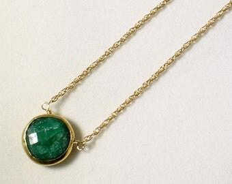 Green Emerald Necklace 18k Gold Bezel Genuine Emerald Necklace Real Emerald Necklace May Birthstone Precious Emerald Jewelry BZ-P-105-Em/g