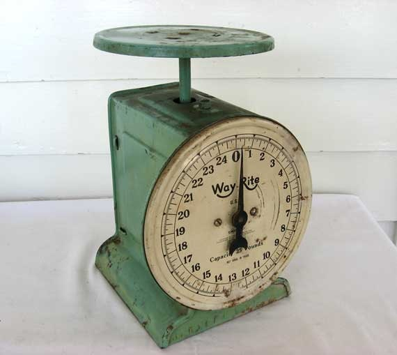 Antique Kitchen Scale: 1930's Vintage Kitchen Scales In Old Jadeite Green Aged
