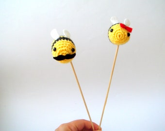 wedding cake topper,  moustache bee, bow bee , valentine couple,bee theme party, bee baby shower, bee bridal groom, spring bee, insect, bug