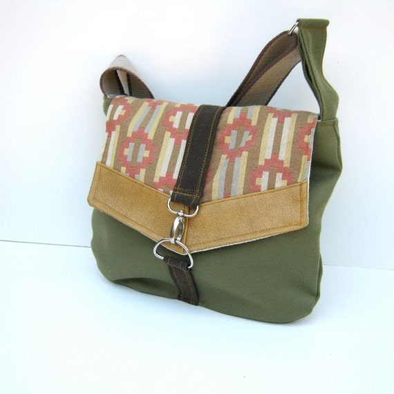 Satchel // Green Brushed Cotton - Southwest Print - Rustic Mustard Vegan Leather