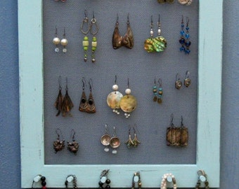 Shabby Chic JEWELRY DISPLAY  Holder,  jewelry wall organizer / Light blue / 40 - 50 Earrings / 28 - 35 Necklaces