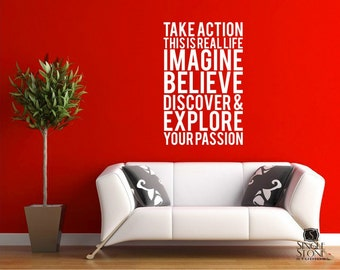 Wall Decal Quote Take Action - Vinyl Subway Art