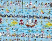 One Yard Japanese Cotton Fabric Neverland Peter Pan Blue