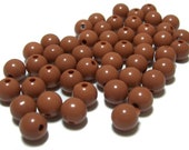 8mm Smooth Round Acrylic Beads in Chocolate Brown 50 beads