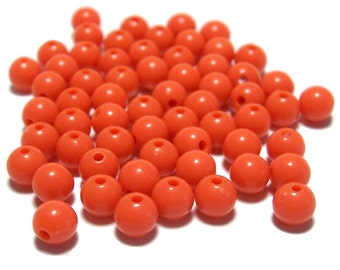 6mm Smooth Round Acrylic Beads in Orange 100pcs