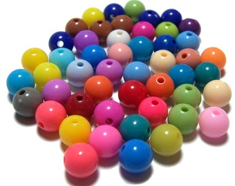 10mm Smooth Round Acrylic Beads in a colorful mix 70 beads