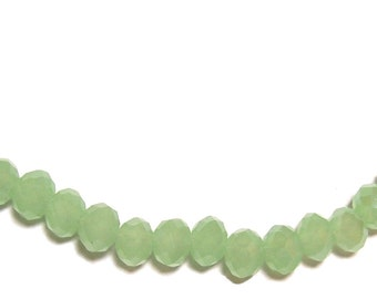 4x6mm Chinese faceted glass crystal beads in Milky Green 50pcs