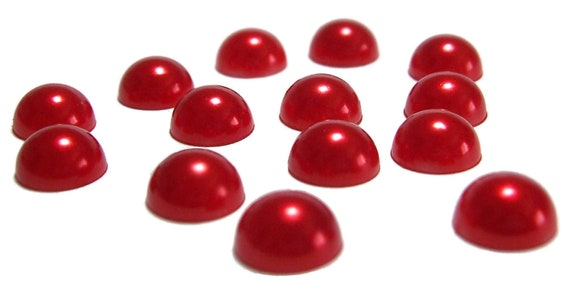 8mm Red color flatback pearls 100