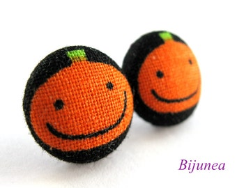 Pumpkin earrings - Halloween pumpkin stud earrings- Halloween pumpkin post earrings - Halloween pumpkin posts sf814