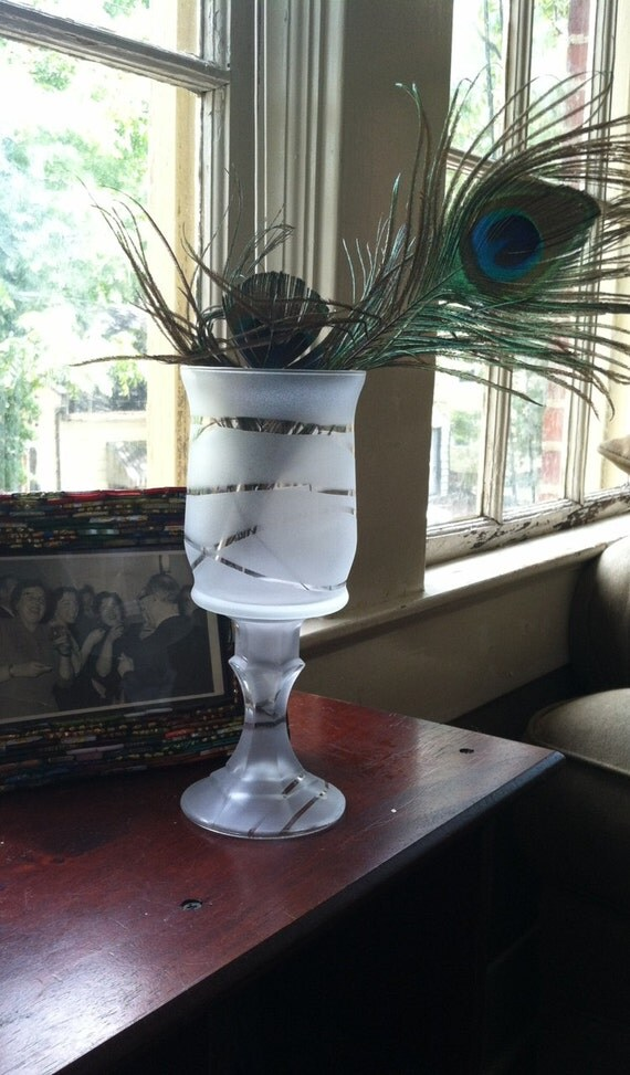 Frosted Candle Holder with Stripe Design