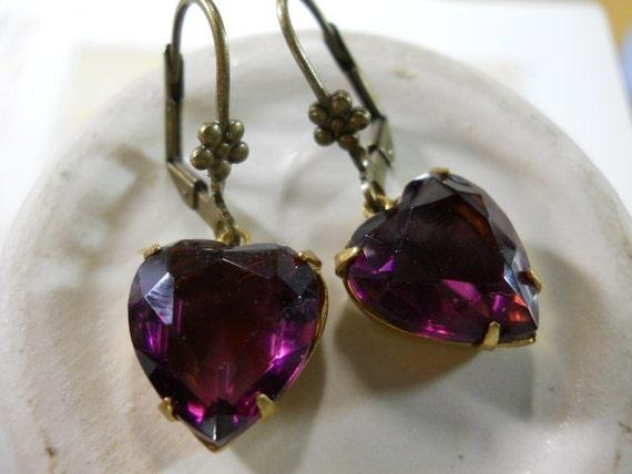 Vintage Glass Heart Charm Earrings in Deep Purple with Flower Lever Back Ear Wires