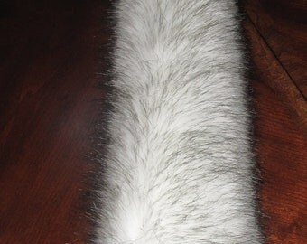 """Cosplay 15"""" long white black tips long pile luxury shag faux fur costume tail"""