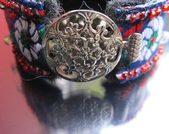 SALE flower cuff bracelet in vibrant red, green and blue with beaded accents and flower clasp SALE