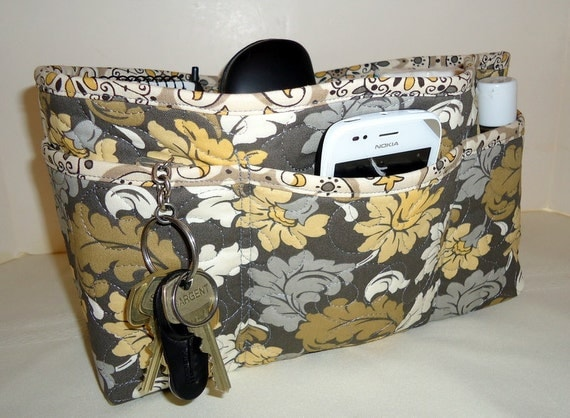 """Quilted Large Purse Organizer Insert With 4"""" Depth Enclosed Bottom  Gray"""