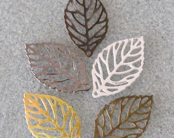Itty Bitty Leaf Filigree Mix Filigree Leaves You Choose Finish 10mm x 20mm 538