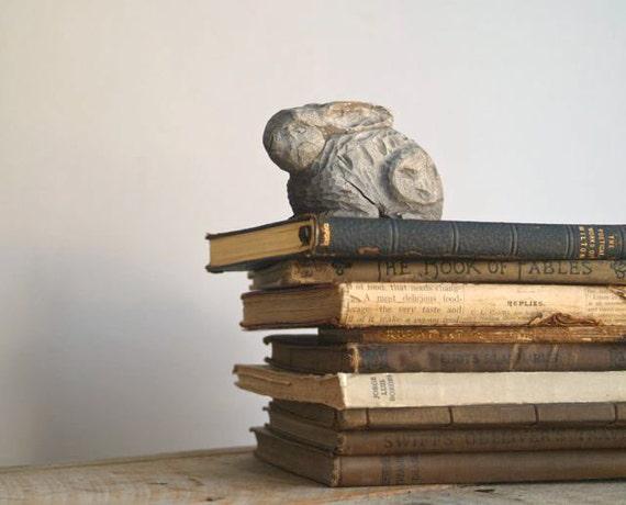 Vintage Hand Carved Wood Rabbit, Folk Art Hand Carved Rabbit, Woodland Animal Figurine
