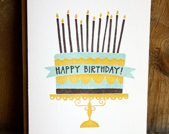 Birthday Cake Letterpress Card