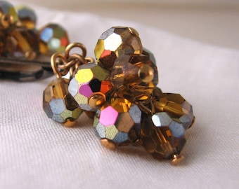 Autumn sparkle chandelier earrings with vintage topaz vitrail crystals