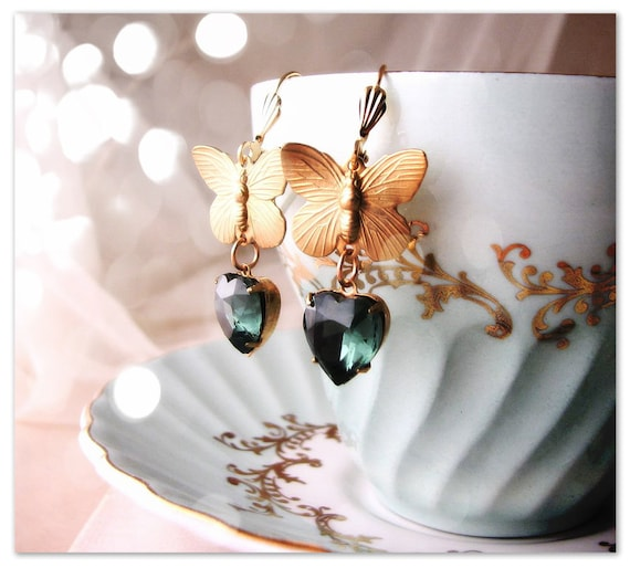 Shabby drop earrings with butterflies and vintage teal rhinestone hearts