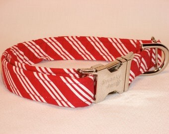 Candy Cane Striped Christmas Dog Collar