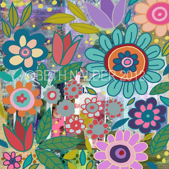 Items similar to funky colorful floral collage wall art for Funky wall art