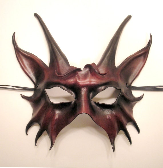 Leather Horned Animal Creature Mask in dark red and black