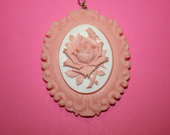 Large Pink Rose Cameo Necklace in Pink Resin Setting