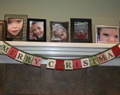 Merry Christmas fabric banner, Christmas bunting, Christmas Decoration