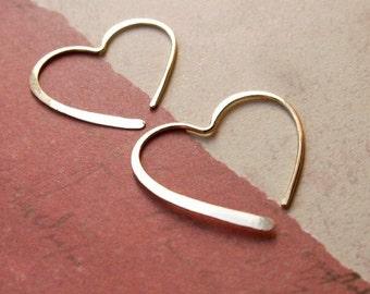 Gold Heart Earrings.... 14k Sculpted Artisan Hoop Earrings, Bridal, Anniversary, Luxury Gift