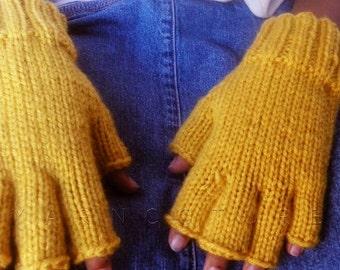 Ergonomically Correct Half Fingered Mitts For KIDS / Fingerless Gloves - In MUSTARD / Fall Winter Fashion