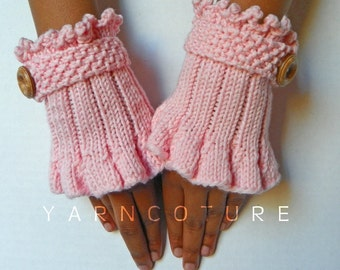Retro - Victorian Knit Cuffs / In Peony Pink w/ Faux Wood Buttons