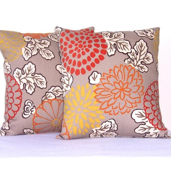 """Taupe Pillow Covers Orange Gold Rust Floral Pillow Covers Indoor Outdoor 18"""" x 18"""" Decorative Accent Pillow Covers"""