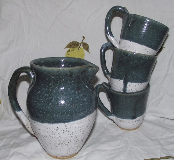 Pitcher and 3 mugs set - blue/green and white