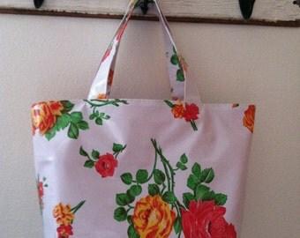 Beth's Medium White vintage rose Oilcloth Market Tote Bag